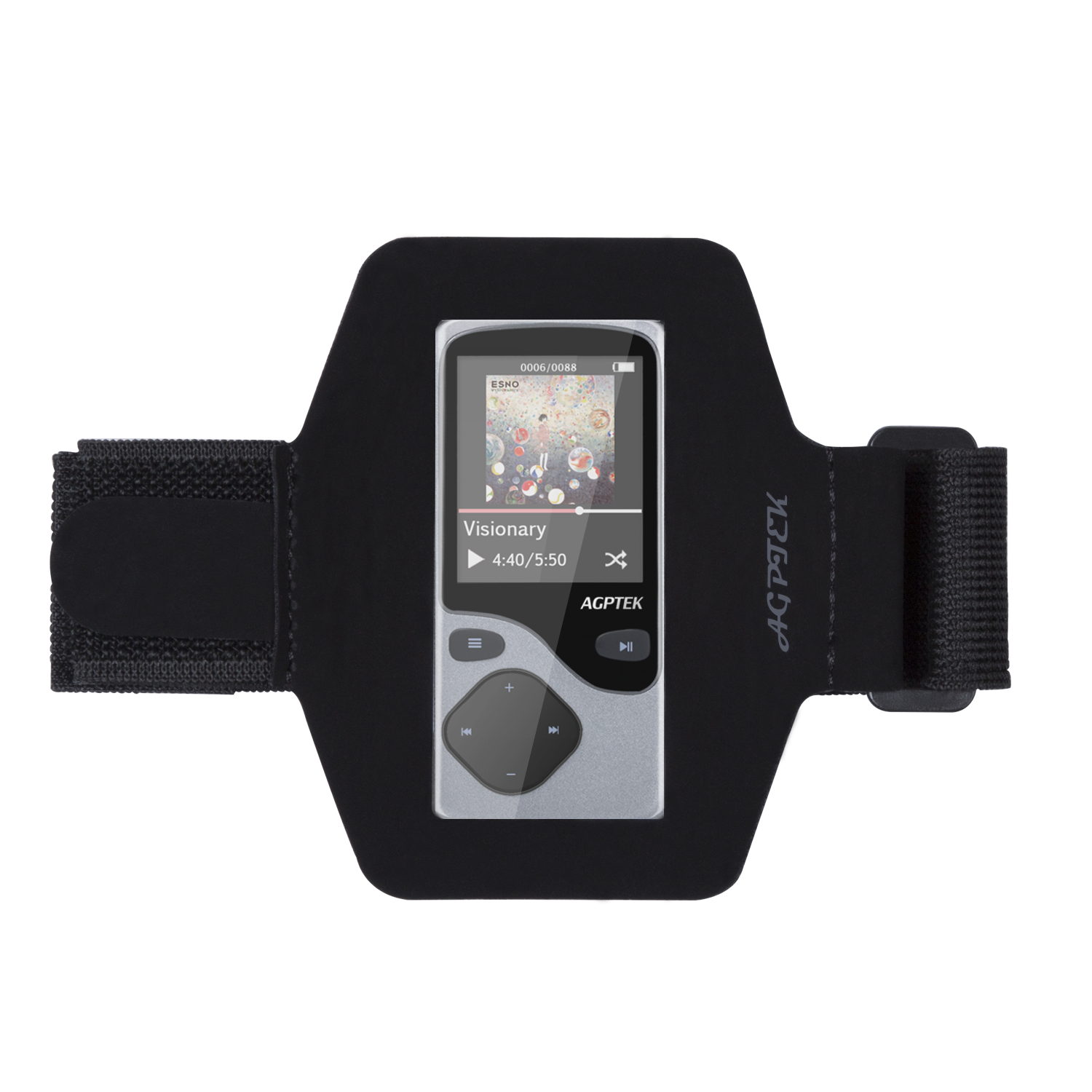 AGPtEK Adjustable ArmBand for C05 MP3 Player, Portable and Durable For Your Outdoor Sports, Black