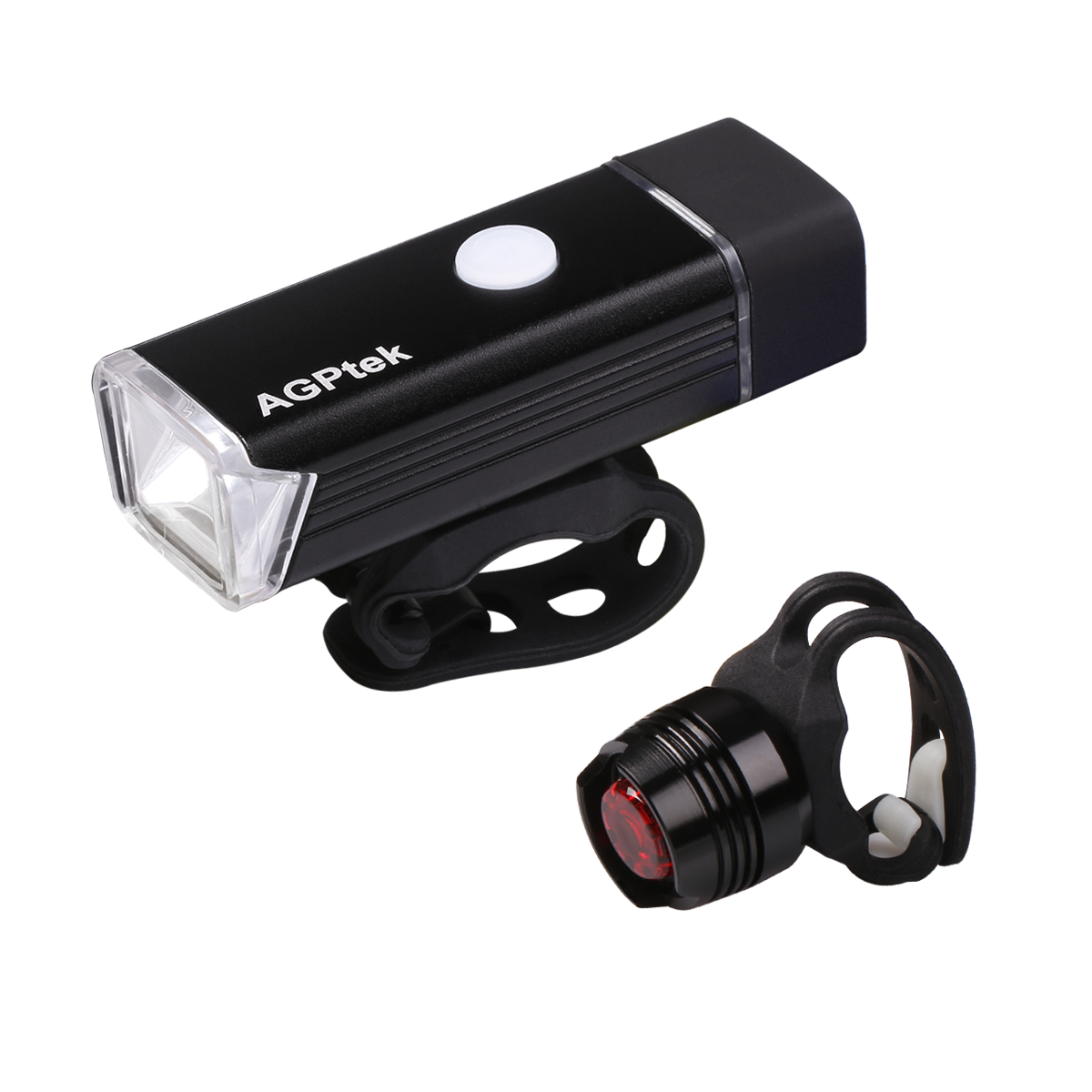 AGPtEK LC01 Rechargeable Bike Light Set-Ultra Bright Front Light & LED Bike Tail Light Set.Waterproof-Easy Installation for Cycling Safety Flashlight