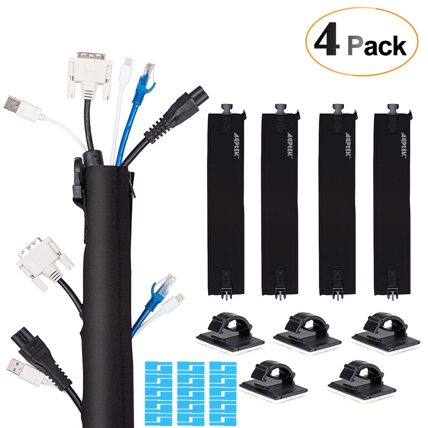 AGPTEK Neoprene Zip-up Cable Sleeves & Cable Clips (Upgraded Version), Cable Management Sleeves with 5 Cable Clips, Neoprene Cable Wrap for TV / Computer / Home Entertainment Set of 4