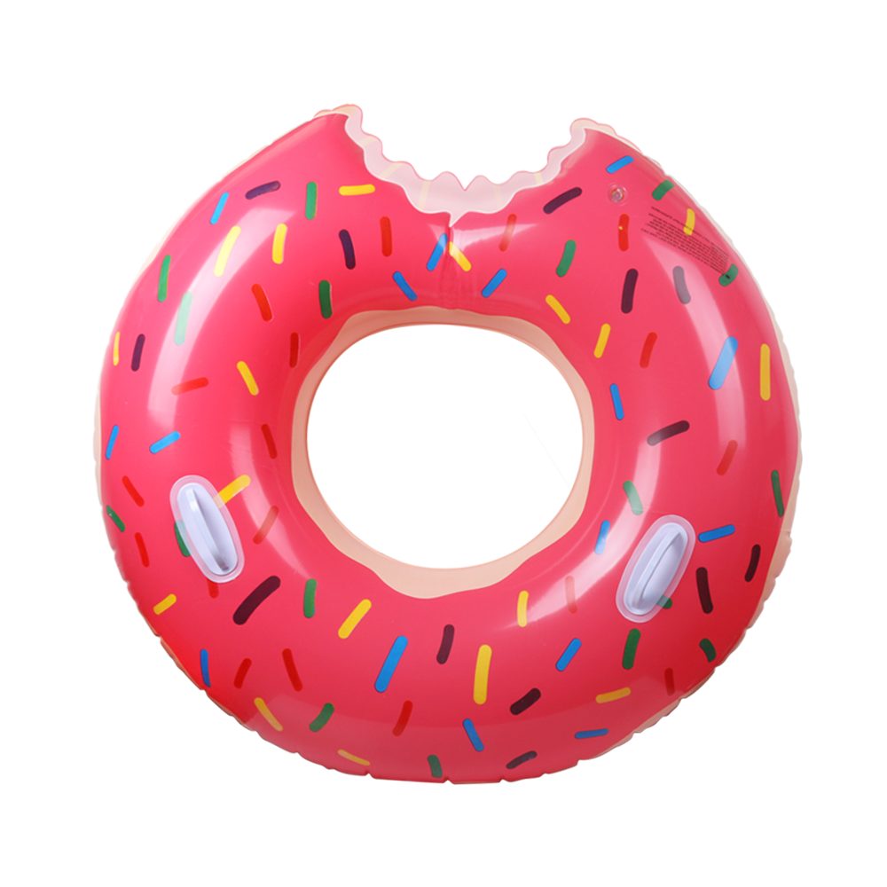 AGPTEK Gigantic Donut Pool Float, Inflatable Swimming Ring, Explosion-proof Anti-leakage Swimming Tube with Handle, Outdoor Swimming Pool Loung Tube Floatie Toys for Adults, Strawberry