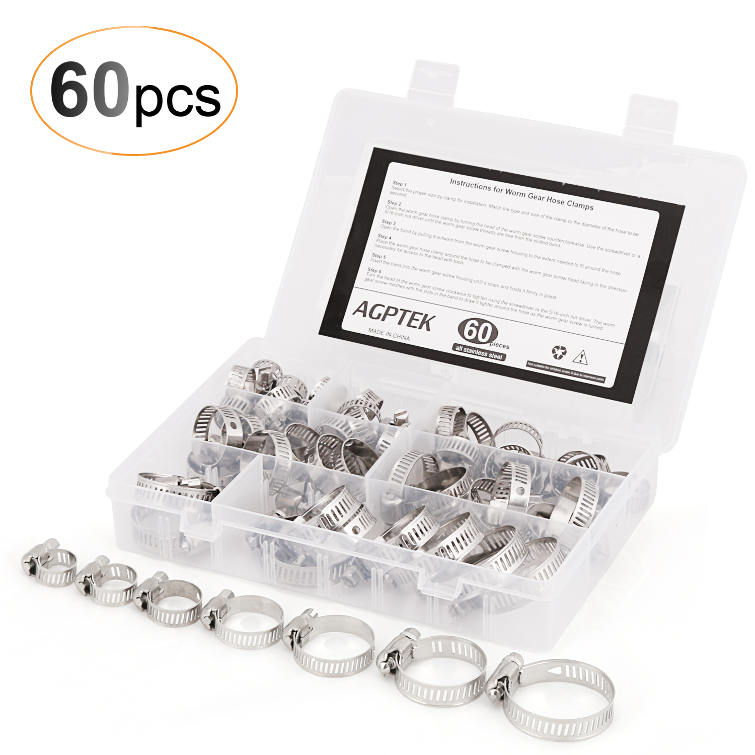 AGPTEK 60PCS Hose Clamps All Stainless Steel Worm Gear Assortment Kit (Size Range 2/9 to 1-1/2 Inches)