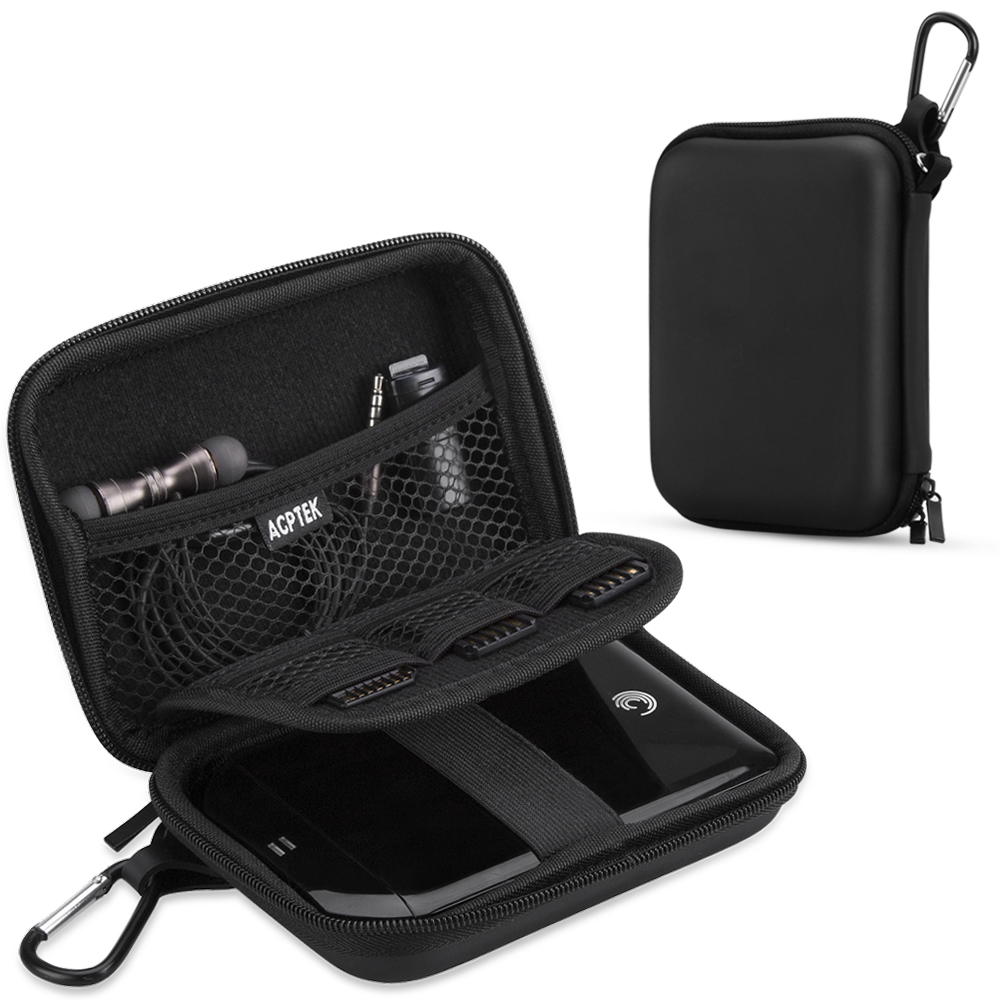 AGPTEK EVA Shockproof Hard Drive Carrying Case ,Travel Carrying Case for 2.5-inch Portable External Hard Drive-Transcend 1 TB ,2TB, Kingston MLWG2, RAVPower FileHub, MP3 Player, Power Bank, Black