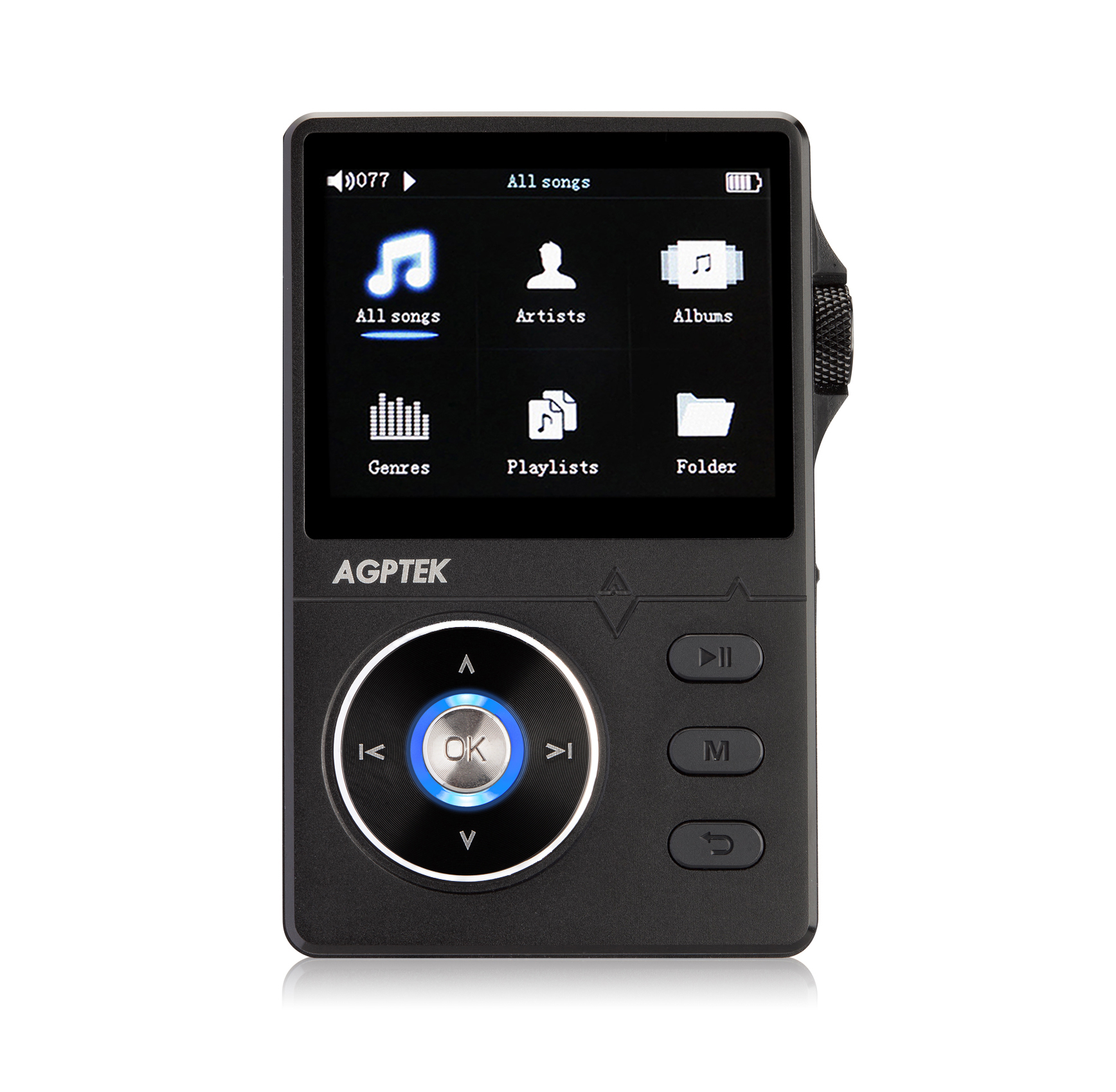 AGPTek H01 HiFi MP3 Player with Volume Knob &2.4 Inch HD Display, Compatible with 64GB,Black