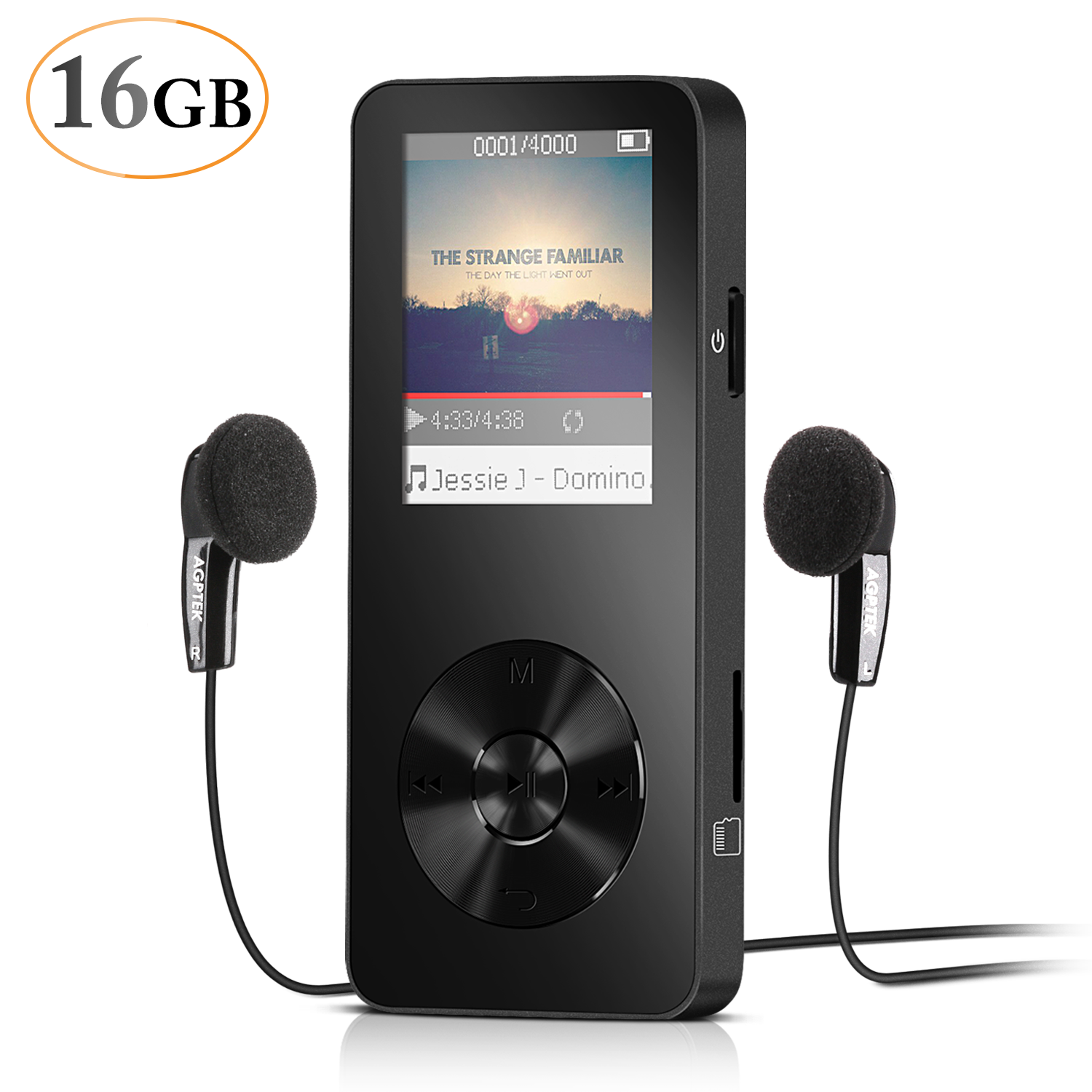 AGPtEK M28 16GB Lossless Sound Music Player with 1.8 Inch Screen,Metal Shell,Support up to 64GB,HD Headphone,Adjustable Sport Armband,Black