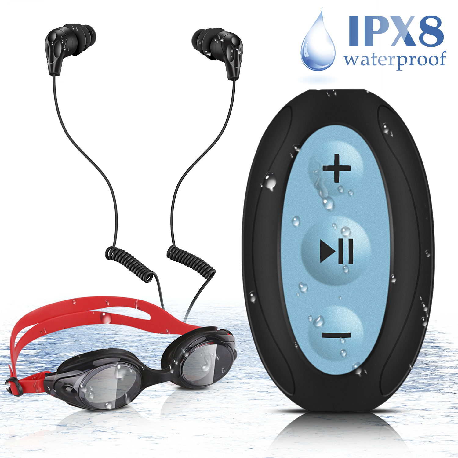AGPTEK 8GB Waterproof MP3 Player with Shuffle, Underwater Headphones Goggles for Swimming, S66(Black)