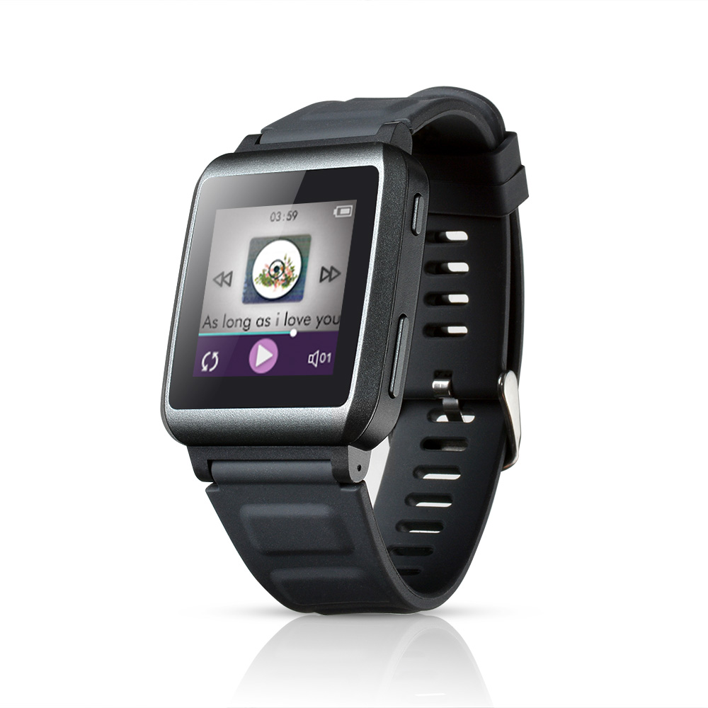 AGPtEK 16GB Touch Screen Mp3 Watch Player with Bluetooth (Black, 1.5-Inch)