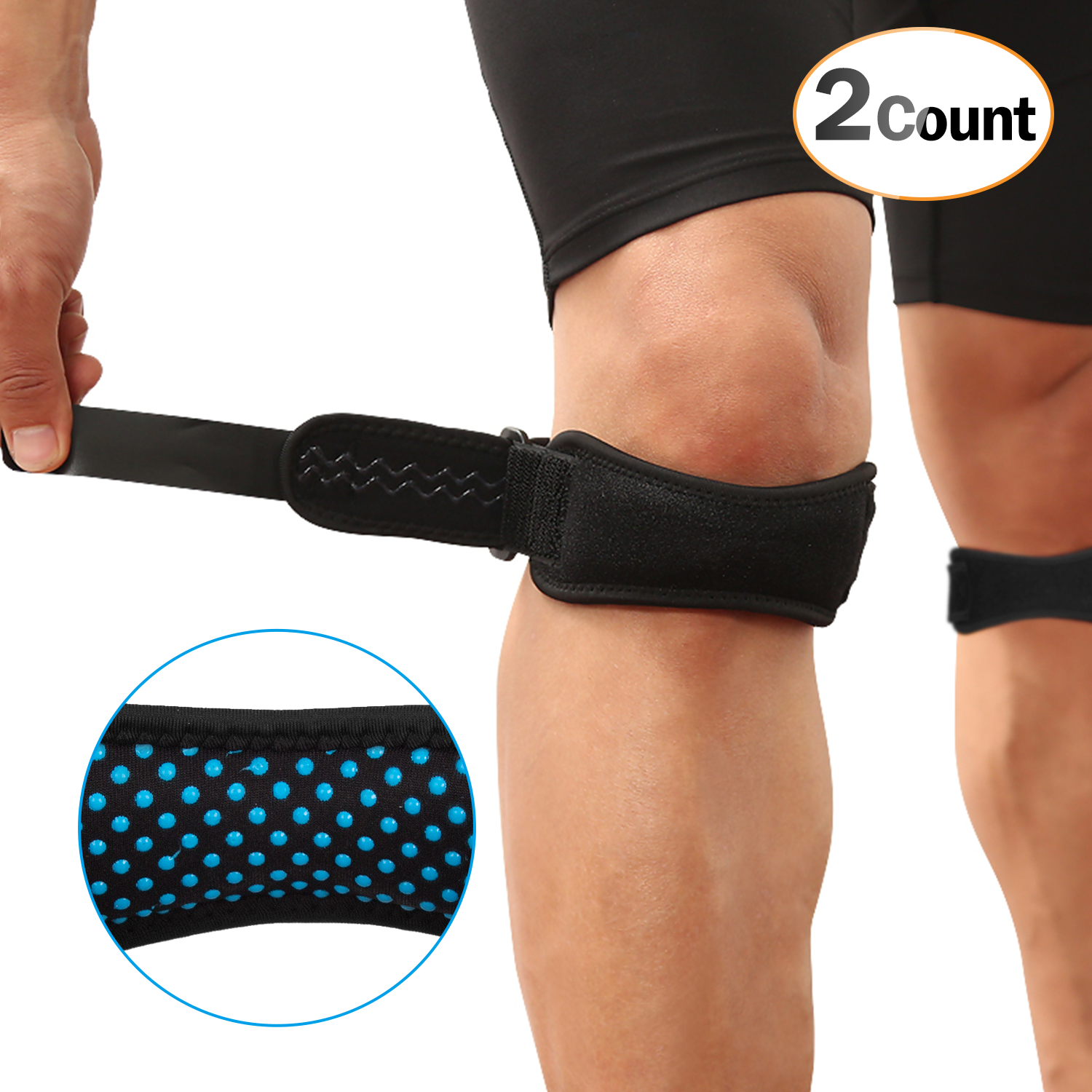 AGPTEK 2 Pack Patella Knee Strap, Anti-slip Knee Pain Relief Band with Silicone Pad,Pain Relief for Basketball Volleyball, Running, Hiking, Tennis etc, Black