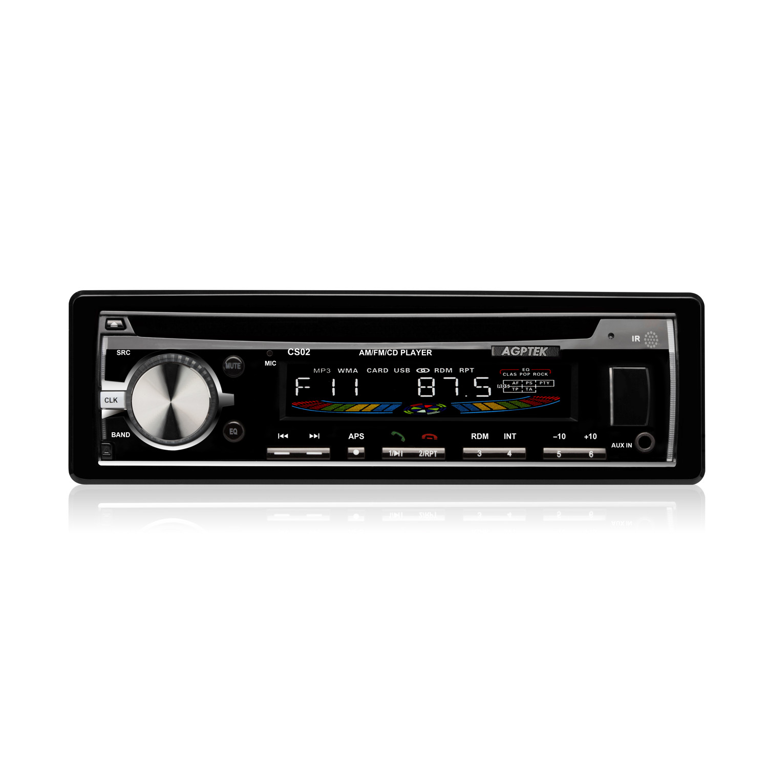 AGPtEK CS02 In-Dash CD/MP3/USB Car Stereo Receiver with Bluetooth, Remote Control,and USB/AUX/SD/AM/FM ,Black