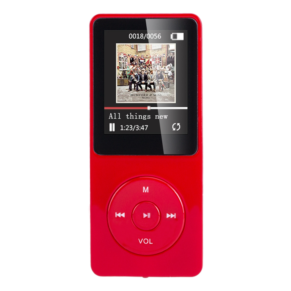 AGPtEK A02 70 Hours Music Playback MP3 Lossless Sound Entry Hi-Fi 8GB Music Player (Supports up to 64GB, SD/TF Card is not included in the package)(Red)