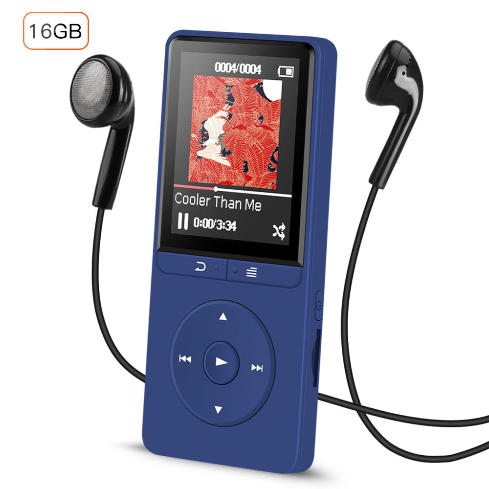 AGPTEK 16GB MP3 Player with FM Radio/Voice Recorder, 80 Hours Playback and Expandable Up to 64GB, A20DBS(Dark Blue)