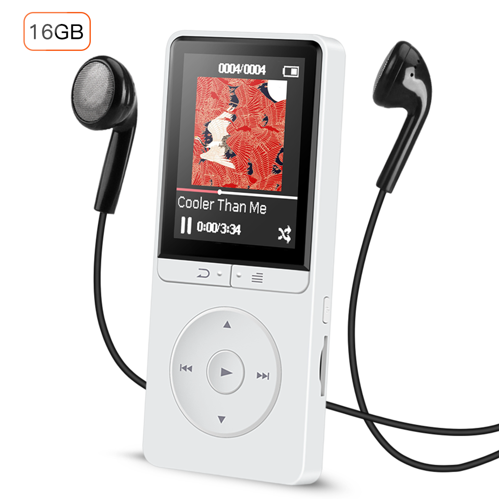 AGPTEK 16GB MP3 Player with FM Radio/Voice Recorder, 80 Hours Playback and Expandable Up to 64GB, A20WS (White)