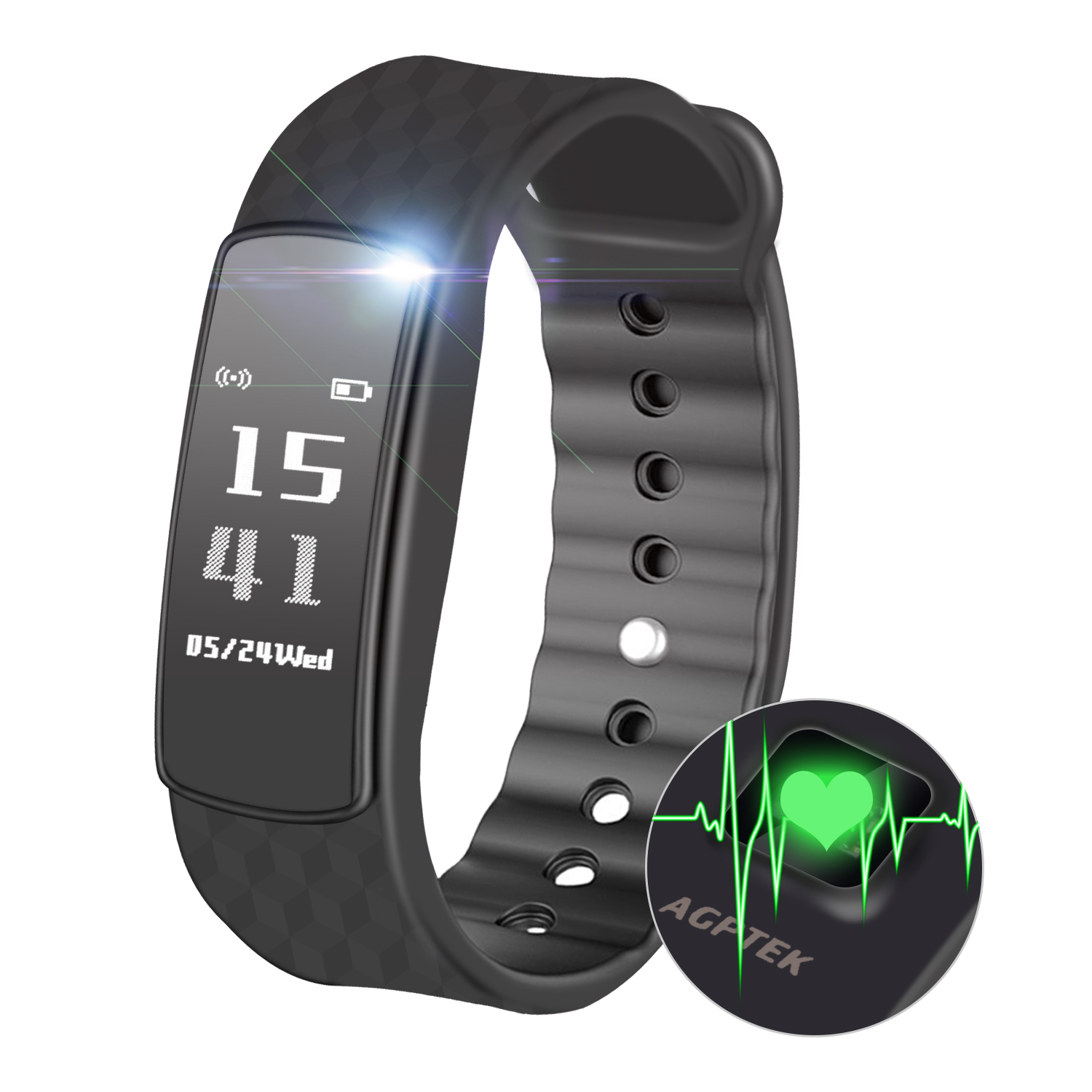 AGPTEK Fitness Tracker, Smartwatch Wristband Bluetooth 4.0 Touch Screen with Heart Rate / Sleep Monitor / Pedometer / Calorie Counter / Notifications for IOS Android Smartphones, Black