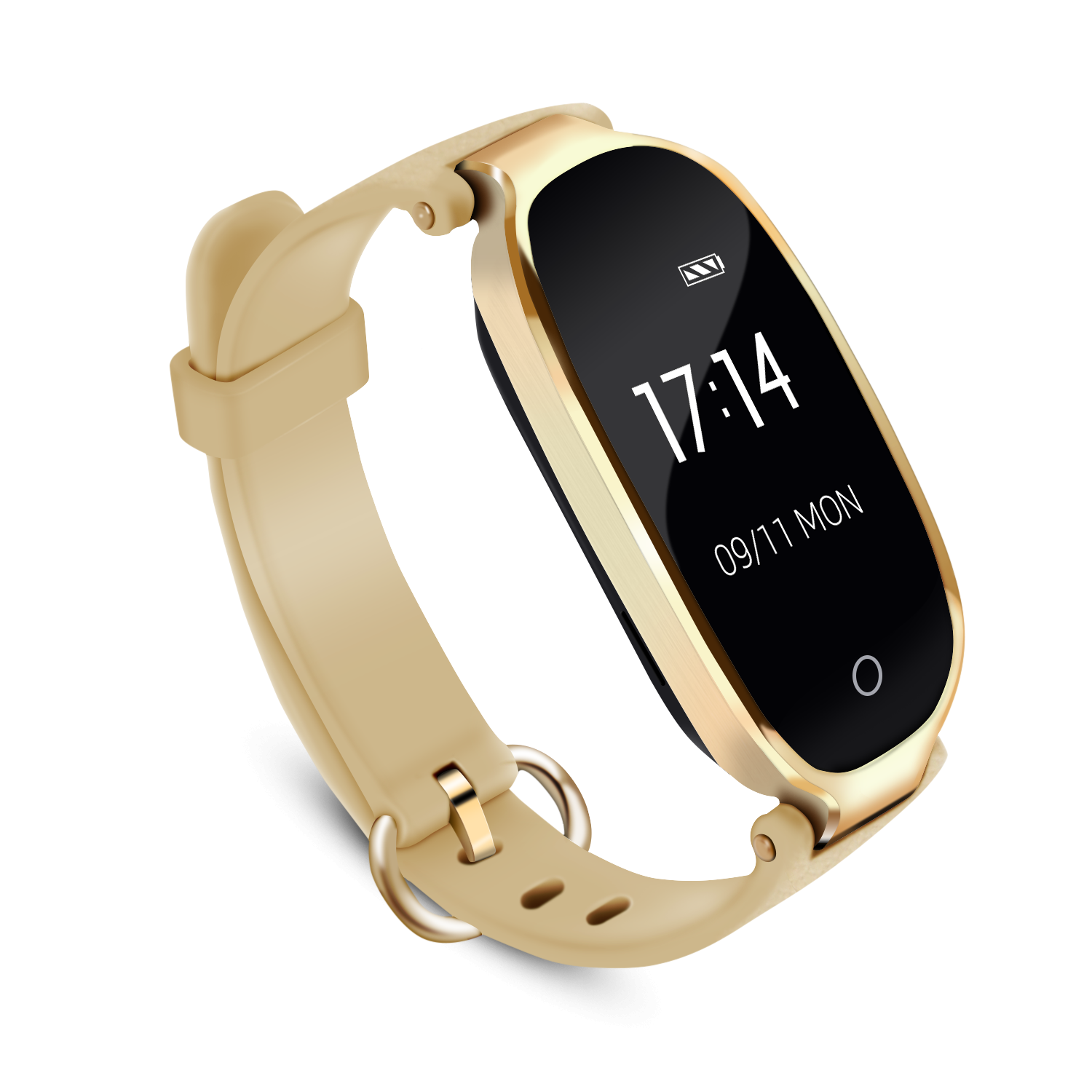 AGPTEK Lady Fitness Tracker, Woman Fashion Smartwatch Wristband Bluetooth 4.0 Touch Screen with Heart Rate / Sleep Monitor / Pedometer / Notifications for IOS Android Smartphones, Gold