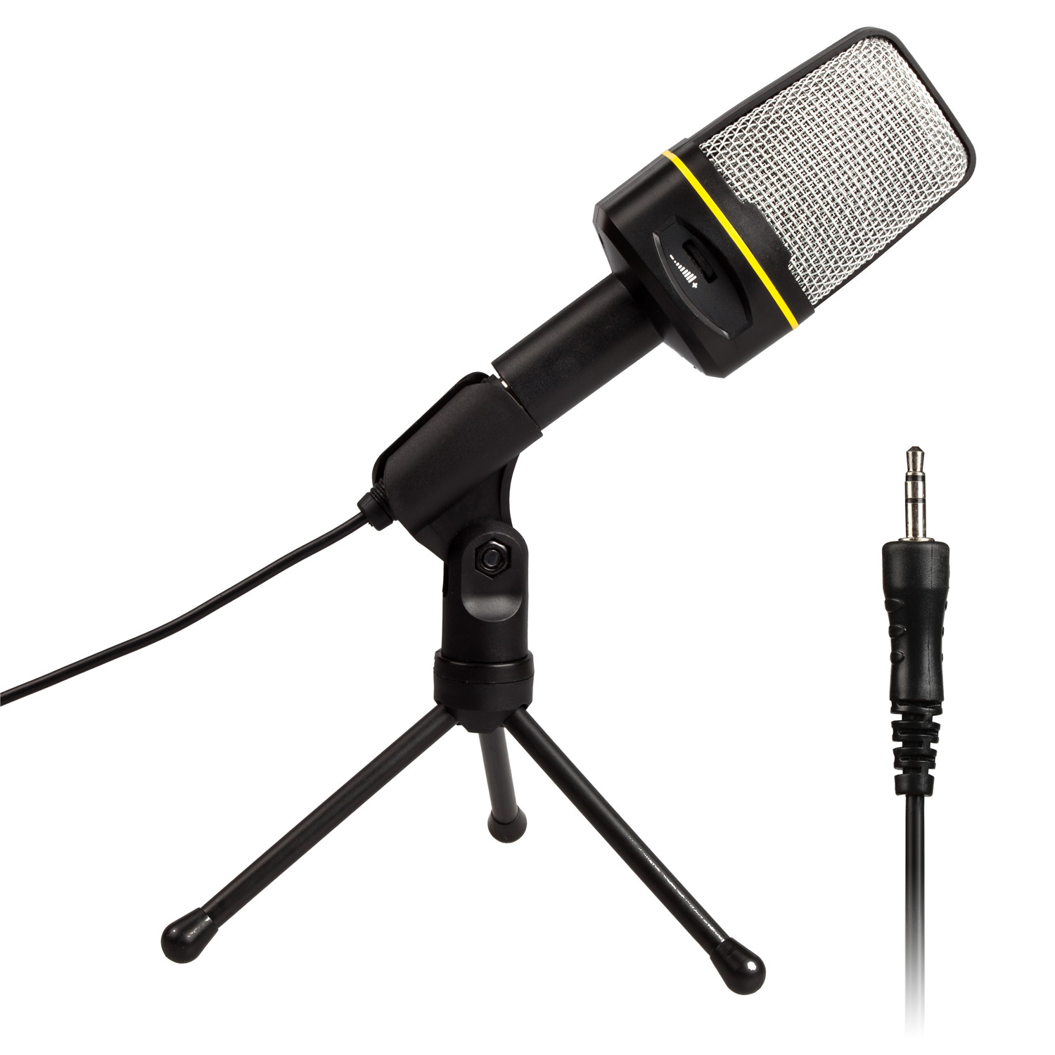 AGPTek V01B Professional 3.5mm Condenser Recording Microphone,with USB Sound Card and 180 Degree Rotatable Tripod Support,Black