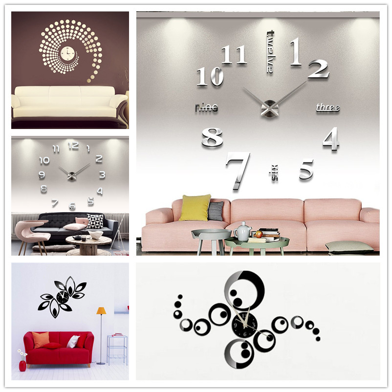 Large Number Wall Decor : New diy large number wall clock d mirror surface sticker
