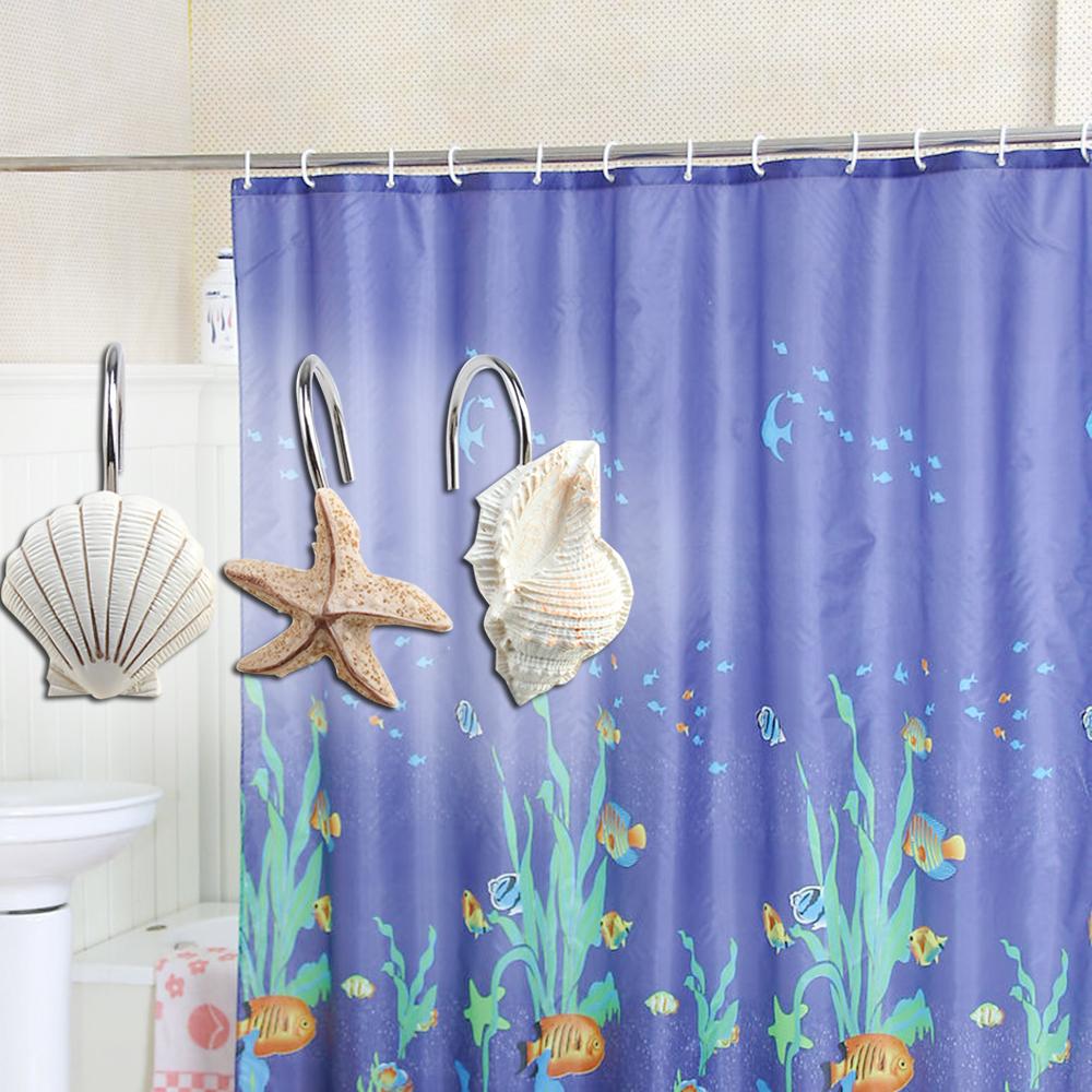Ocean themed shower curtains - New 12 Pcs Decorative Seashell Shower Curtain Hooks Bathroom Beach Shell Decor