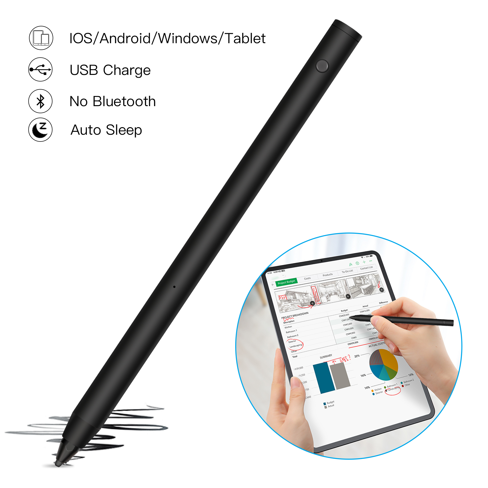 2 In 1 Capacitive Pen Touch Screen Drawing Point Pen Stylus for iPhone Pad Table