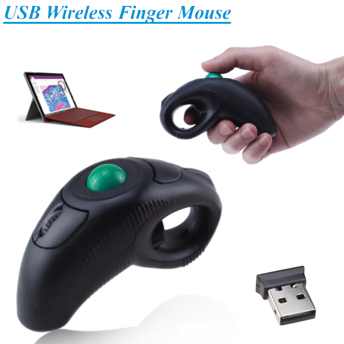 c592a179179 Details about USB Wireless Finger HandHeld Trackball Mouse Mice Tablet PC  Laptop Battery power